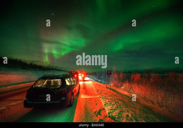 Aurora Borealis or Northern Lights, Lapland Sweden - Stock Image