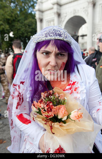 London, UK. 12th Oct 2013. London attracts thousands of zombies each year to groan and shamble through Central London - Stock Image