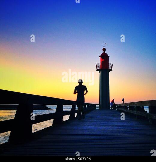 The lighthouse at Trouville sur Mer, Normandy, France. - Stock Image