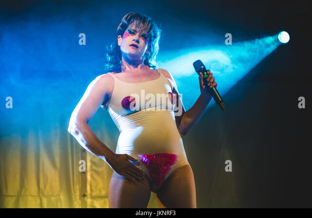 Turin, Italy. 23rd July, 2017. Peaches performing live on stage at the Flowers Festival 2017 Photo: Alessandro Bosio - Stock Image