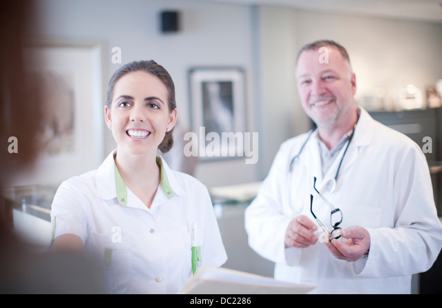 Candid portrait of doctor and nurse - Stock Image