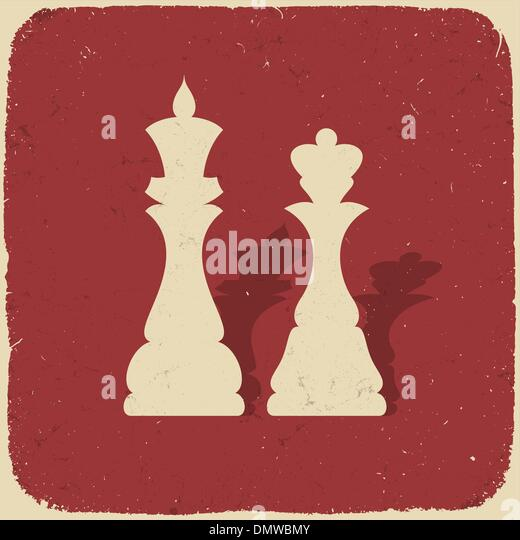 King and queen. Retro chess background, vector illustration, EPS - Stock-Bilder