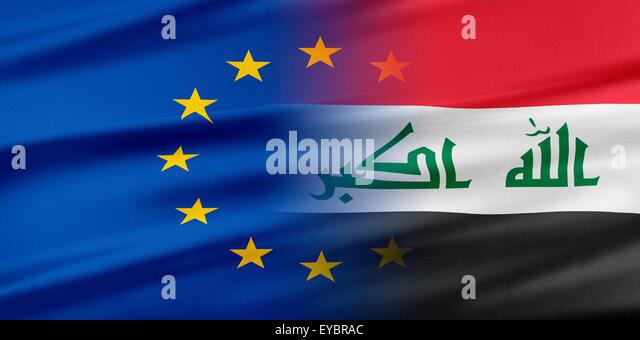 European Union and Iraq. - Stock Image