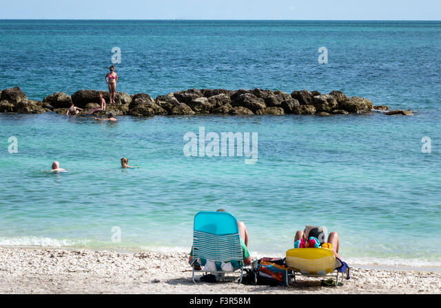 Florida Key West Keys Fort Zachary Taylor Historic State Park Gulf of Mexico beach sand jetty - Stock Image