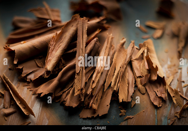 Chocolate flakes - Stock Image