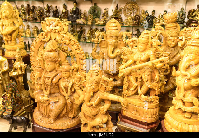 Wood carvings for sale stock photos