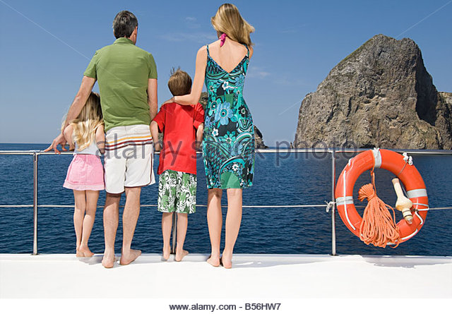 Family on a boat - Stock Image