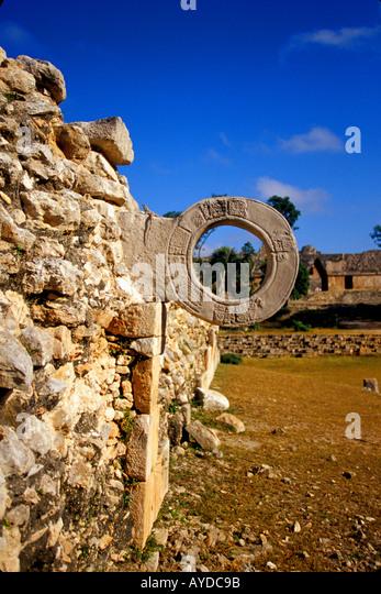 Mexico Mayan ruins at Uxmal Ball Court Ring - Stock Image