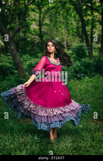 Portrait of a beautiful girl gypsy - Stock Image