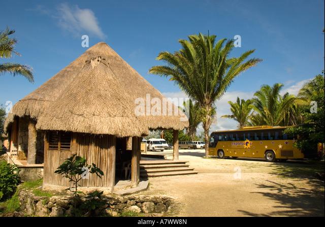 Costa Maya Mexico Chacchoben Mayan ruins entrance - Stock Image