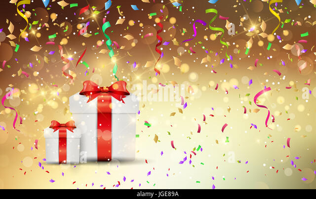 Christmas gift background wth confetti and streamers - Stock Image