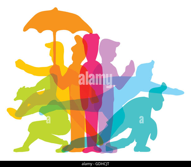 Cartoon illustration of active man performing different actions in various color - Stock Image