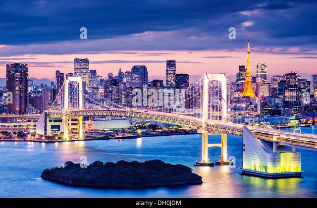 Tokyo Bay at Rainbow Bridge. - Stock-Bilder