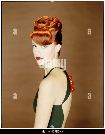 Portrait of Young Woman In Evening Gown - Stock Image