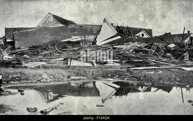 Wreckage at Sixteenth and M Streets - Galveston Hurricane, 1900 - Stock Image