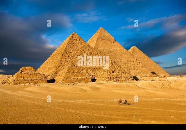 The pyramids of Giza near Cairo - Stock Image