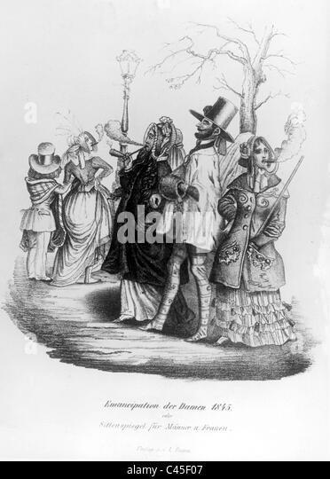 Smoking women, 19th century - Stock Image