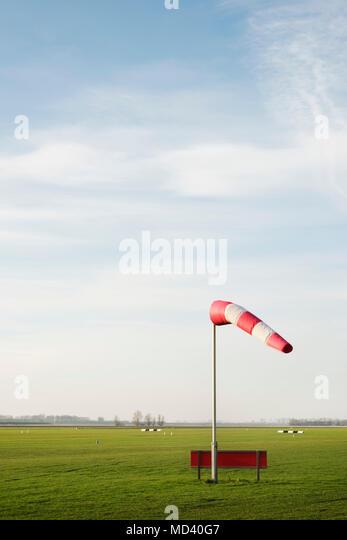 Wind sock on Midden-Zeeland airfield, Arnemuiden, Zeeland, Netherlands - Stock Image
