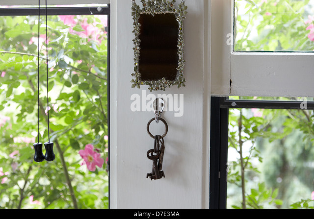 Keys and screened window and roses in summer - Stock Image