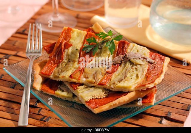 Peppers and anchovies focaccia. Recipe available. - Stock Image