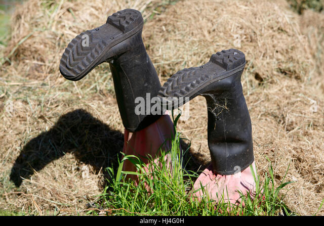 Wellington boots stuck in grass, Mecklenburg-Western Pomerania, Germany - Stock Image