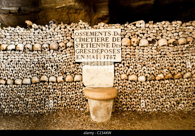 Stack of bones and skulls in the Paris catacombs Paris France. Studio ...