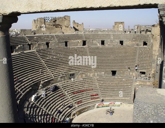 Roman theatre in Bosra - Stock Image