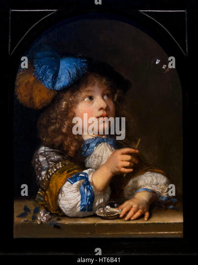 A Boy Blowing Bubbles, by Caspar Netscher, 1670, Royal Art Gallery, Mauritshuis Museum, The Hague, Netherlands, - Stock Image