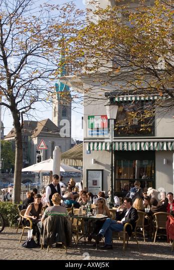 Switzerland Zurich Cafe Molino street cafe background Fraumunster - Stock Image