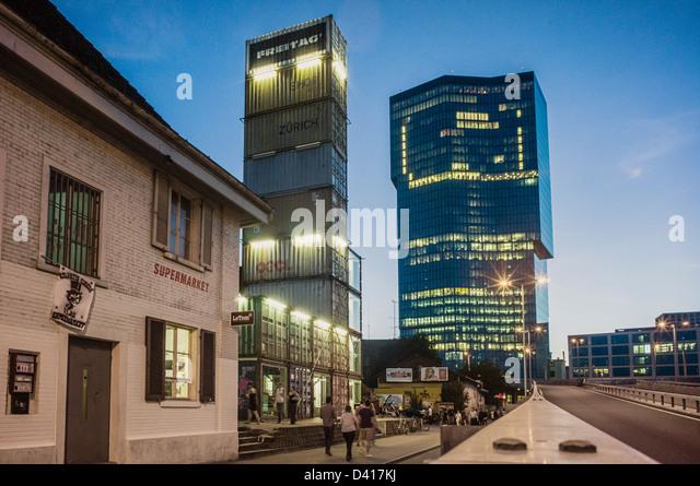 Supermarket club, Freitag concept store, Prime tower, Kreis 5, Zurich, - Stock Image