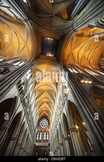 Truro Anglican Cathedral Interior Ceiling Cornwall looking up - Stock Image