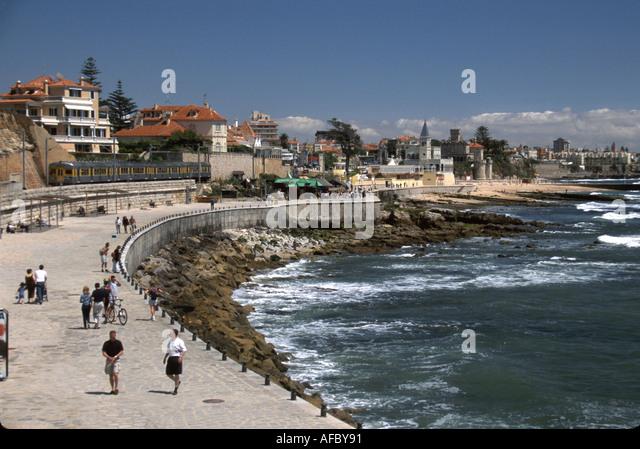 Portugal Monte Estoril Atlantic Coast train station view shoreline promenade - Stock Image
