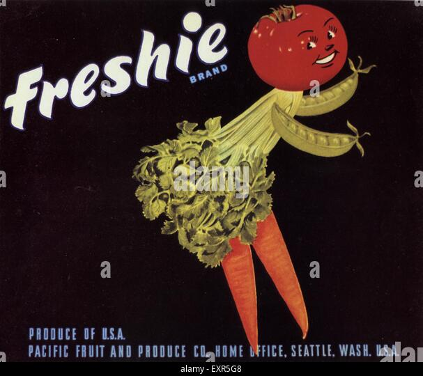 1940s USA Freshie Label - Stock Image