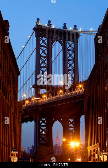 USA, New York City, Manhattan, Manhattan Bridge - Stock Image