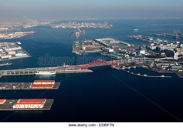 Aerial view of Kobe port Kobe-Oohashi Bridge, Kobe City - Stock Image