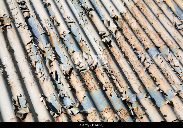 weathering corrugated iron close up for background - Stock Image