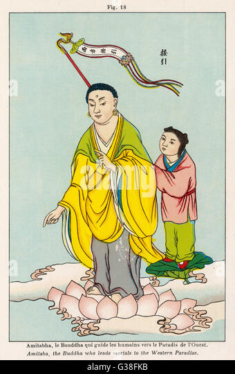 AMITABHA, the Buddha who  guides humans towards the  Paradise of the West - Stock Image
