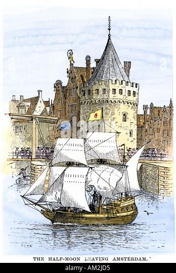 Henry Hudson ship Half Moon leaving for the New World 1609 - Stock Image