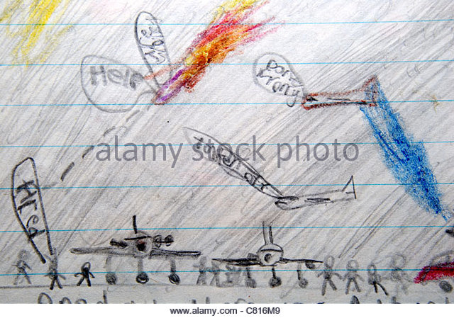 Childrens drawing of an airport with one plane crashing. - Stock Image