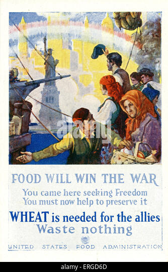American First World War food waste propaganda. Produced by the United States Food Administration. Shows American - Stock Image