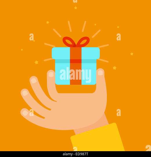 Hand giving present in flat style - gift concept illustration - Stock-Bilder