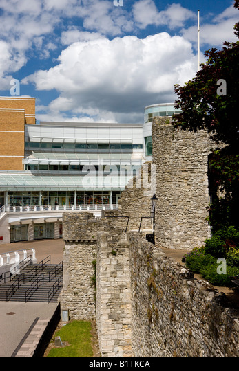 Medieval walls of Southampton and new West Quay shopping centre Southampton Hampshire England - Stock-Bilder