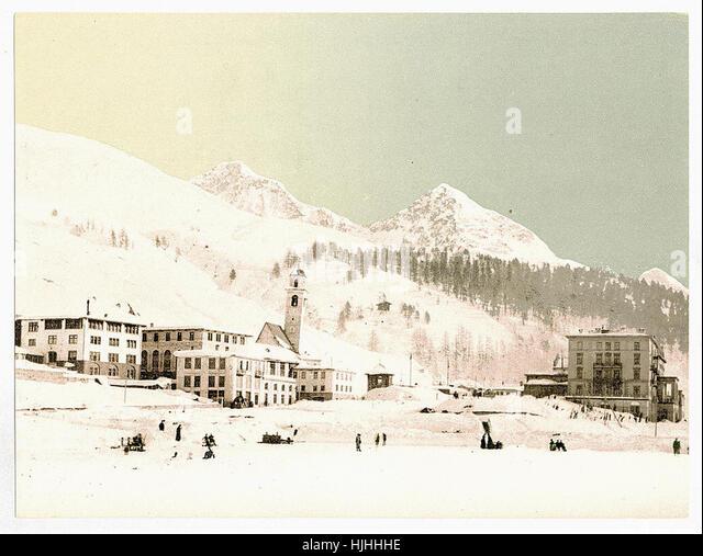 St. Moritz, Grisons, Switzerland, in winter (reversed)  - Photochrom XIXth century - Stock Image