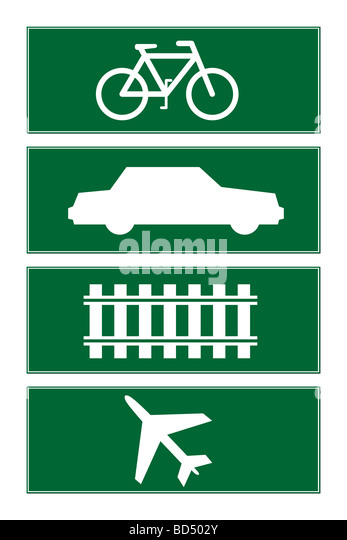 Set of four transport icon road signs isolated on white background - Stock Image