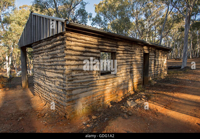 Building made with wattle & daub demonstrating a simple inexpensive method of construction using natural materials - Stock Image