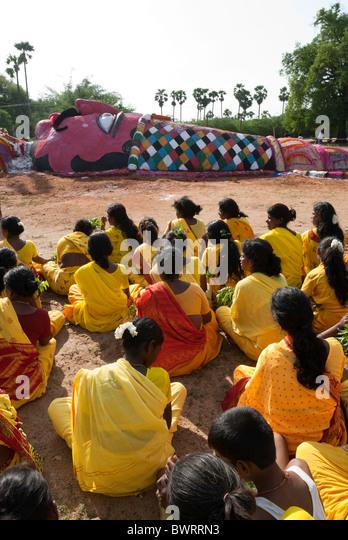 A grotesque figure of Duryodhana made for Mahabharatha kuthu; Patukalam festival at Sevelimedu in Kanchipuram, Tamil - Stock Image