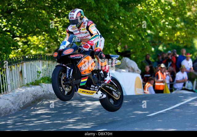 Isle of Man, UK. 5th June, 2013. John McGuinness during the Monster Energy Supersport race at the Isle of Man TT. - Stock Image