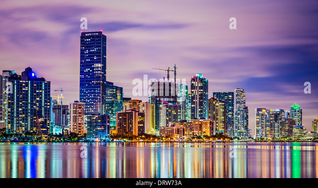 Miami, Florida skyline at Biscayne Bay. - Stock Image