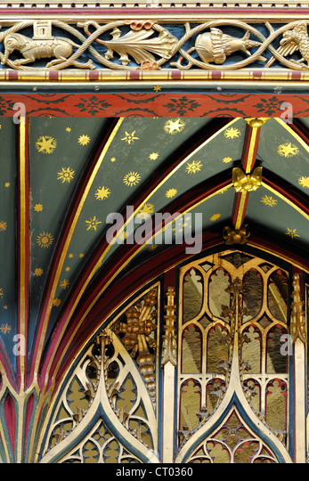 The canopy and fan-vaulting of the fifteenth century Rood Screen from Jervaulx Abbey, St Andrew's Church, Aysgarth, - Stock Image