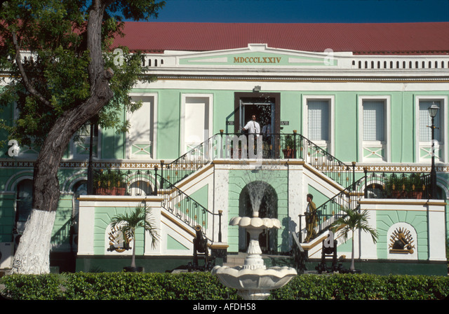 US Virgin Islands St. Thomas Charlotte Amalie The Legislature Danish built former police barracks USVI023 - Stock Image